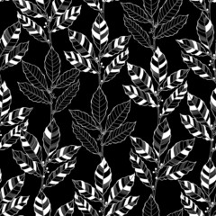 Obraz na Szkle Liście Seamless abstract floral pattern. Black and white vector illustr