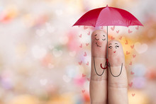 Finger Art. Lovers Is Embracing And Holding Red Umbrella. Stock