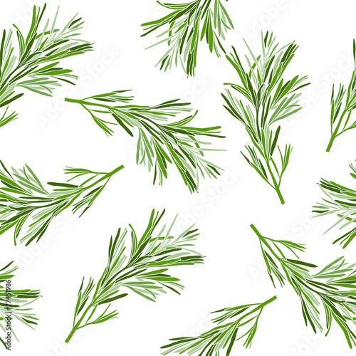 Floral background. Seamless pattern with rosemary. Billede på lærred