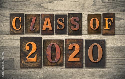Class of 2020 Wooden Letterpress Type Concept Canvas-taulu