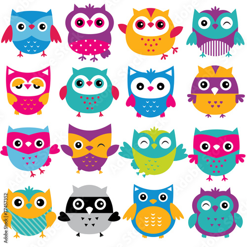 Canvas Prints Owls cartoon cutesy owls clip art set