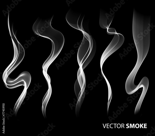 Fotobehang Rook Set of Vector realistic smoke on black background