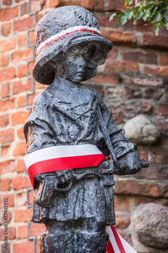 """Fotomural """"Little Insurgent"""" statue in Warsaw, Poland"""