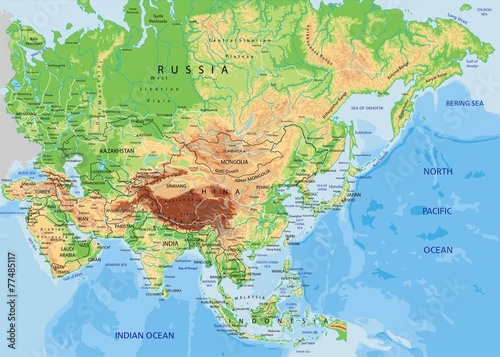 Fototapeta High detailed Asia physical map with labeling