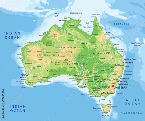 Australia Map Labeled.High Detailed Australia Physical Map With Labeling Buy This Stock
