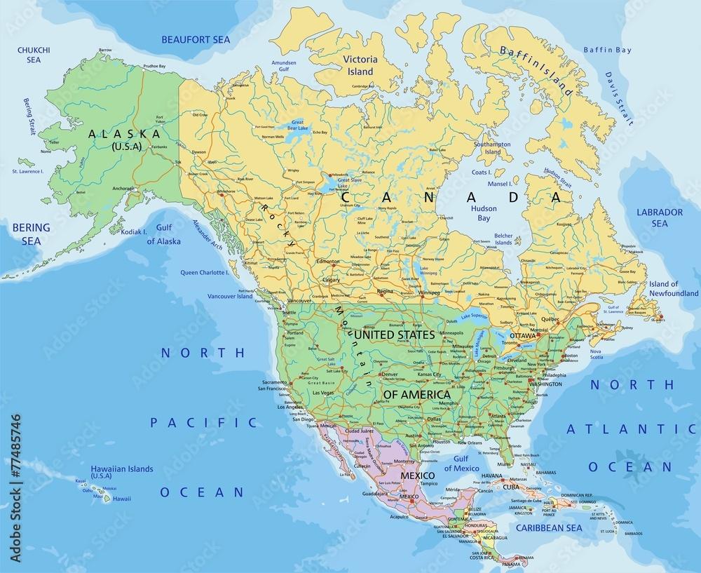 Ameryka Polnocna Bardzo Szczegolowa Edytowalna Mapa Polityczna