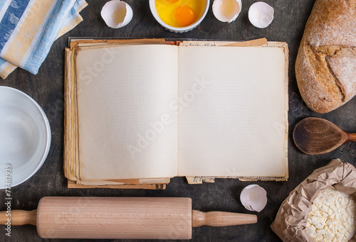 Stampa su Tela Baking background with blank cook book, flour, rolling pin