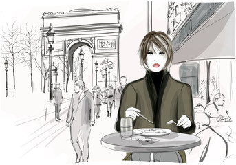 FototapetaPretty woman having a lunch at the Champs-Elysees in Paris