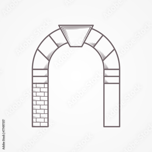 Round arch flat line vector icon Wallpaper Mural