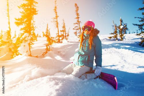 Fotografie, Obraz  Snowboard dívka