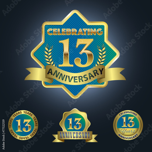 Celebrating 13 Years Anniversary Blue Seal With Golden Ribbon