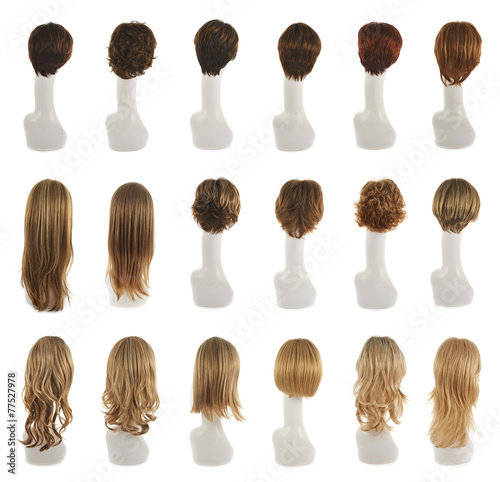Hair wig over the mannequin head set Canvas