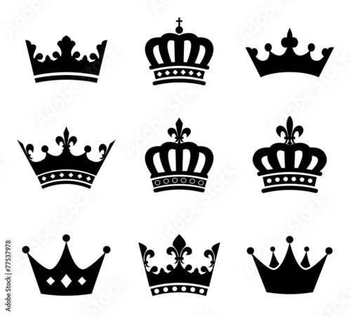 Collection of crown silhouette symbols Poster Mural XXL