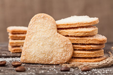 Stack Of Handmade Heart Shaped Cookies Gift For Valentines Day