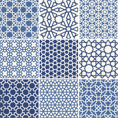 Cuadros en Lienzo Set of Arabic seamless patterns, vector