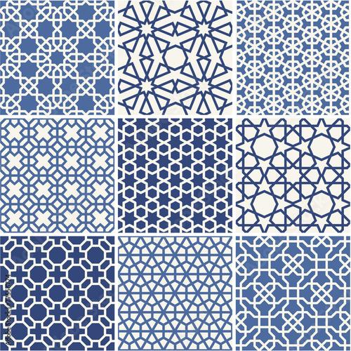 Fotografía Set of Arabic seamless patterns, vector