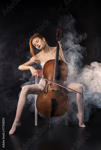 Girl-With-Two-Vaginas Naked Lady Cello Player