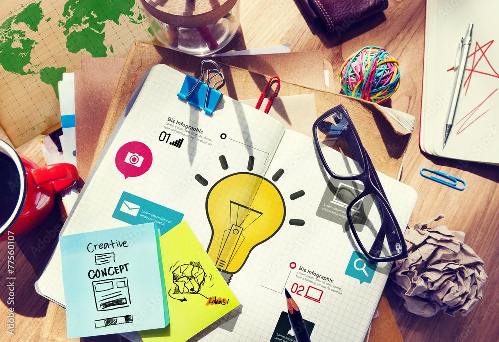 Fototapety, obrazy: Ideas Inspiration Creativity Biz Infographic Innovation Concept