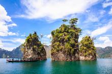 Three Rocks In Cheow Lan Lake, Khao Sok National Park, Thailand.