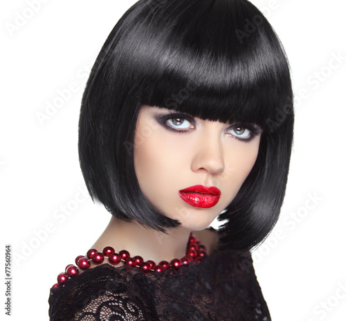 Beautiful Woman With Black Short Hair Haircut Hairstyle Fring