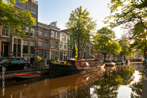 Houseboat on Amsterdam Canal Canvas Print