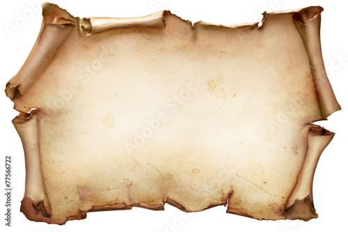 Vintage paper scroll isolated on white