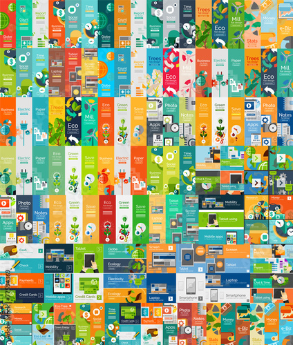 Photo  Mega collection of flat web infographic concepts
