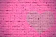 Brick Wall Graffiti Heart, Valentines Day Background