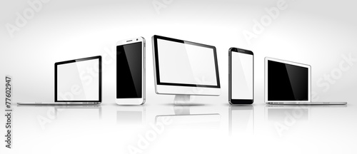 Fotografia  Set of modern devices isometric. Vector