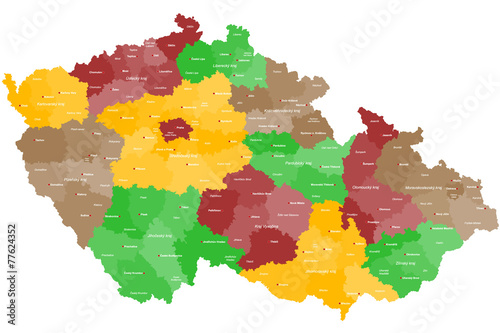 Fotografie, Obraz Karte von Tschechien