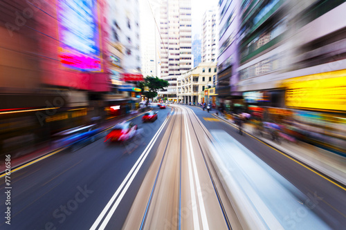 In de dag Centraal Europa traffic blur motion in modern city hongkong