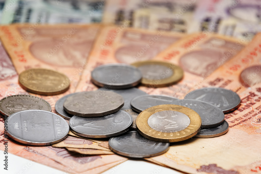 Photo & Art Print Indian Currency Rupee bank notes and coins