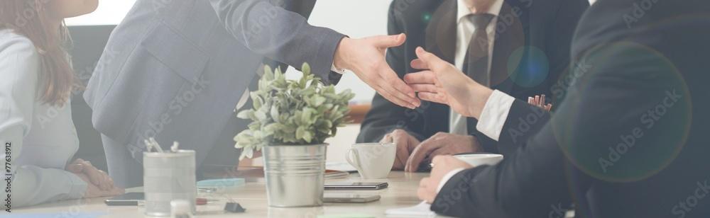 Fototapeta Handshake on a business meeting