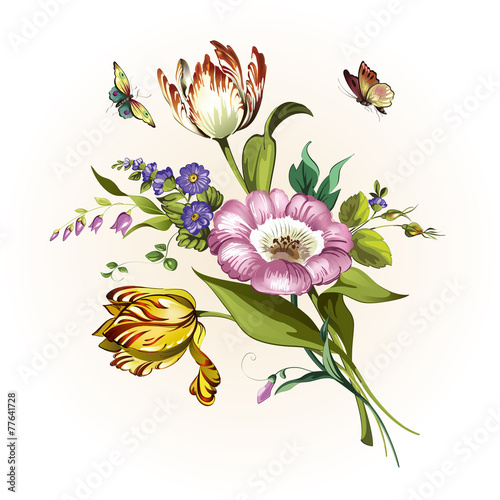 Foto op Aluminium Bloemen vrouw Vintage postcard with beautiful flowers