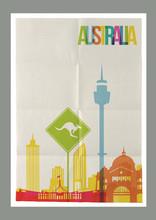 Travel Australia Landmarks Skyline Vintage Poster
