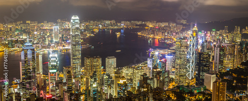 Foto op Aluminium Hong-Kong Hong Kong skyline from The Peak