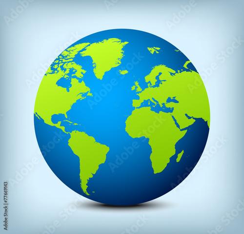 Fotografie, Obraz  vector blue and green globe icon