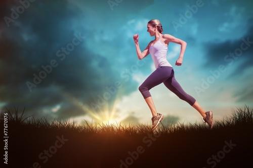 Composite image of pretty fit blonde jogging