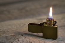 Old Retro Golden Lighter Close...