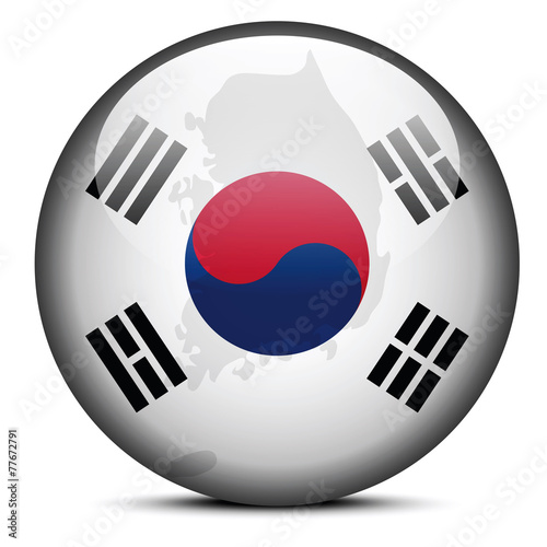 Map on flag button of Republic of Korea, South Korea Poster