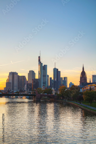 Frankfurt am Main cityscape at sunset Canvas Print
