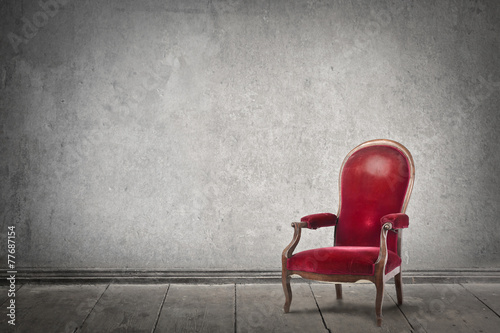 Fotografie, Obraz  Red chair in an empty room