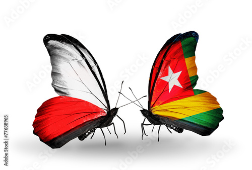 Two butterflies with flags Poland and Togo #77688965