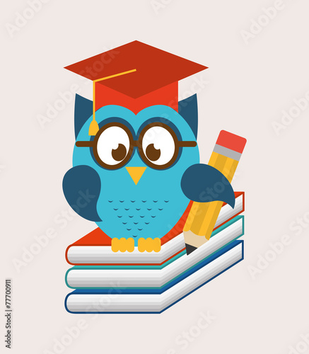 Poster Uilen cartoon owls school