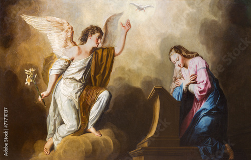 Vienna - Annunciation paint in presbytery of Salesianerkirche Canvas Print