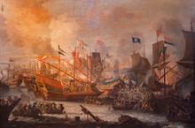 Antwerp - Paint Of Battle Of Lepanto In Saint Pauls Church