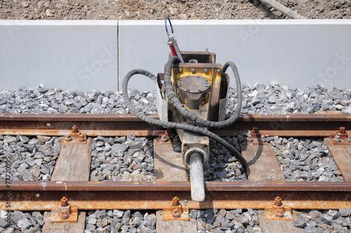 Foto op Canvas Jacht Jackhammer on the railway.