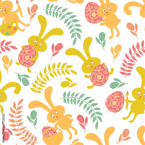 Cotton fabric Seamless pattern of Easter bunnies