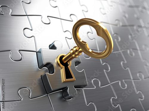 Fotografie, Tablou Golden key and puzzle