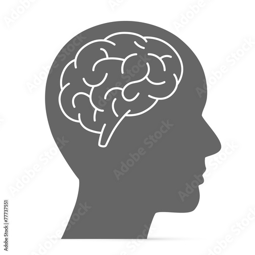 Photo  Silhouette head with the brain
